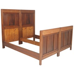 Antique Double Twin Bed, Art Nouveau, in Hand Carved Cherry Wood, Wax Polished
