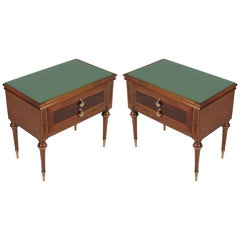 1950s Nightstands, Walnut Bicolor, Burl & Maple Inlaid Golden Brass Accessories