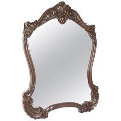 18th Century Baroque Renaissance Hand Carved Wall Mirror, Restored Wax Polished
