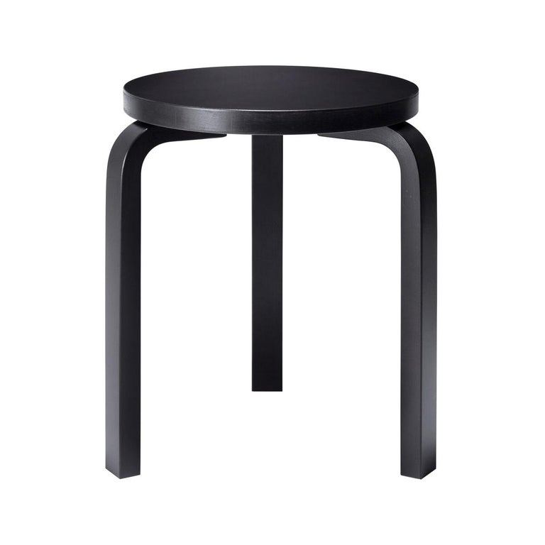Authentic Stool 60 in Birch with Black Lacquer by Alvar Aalto & Artek For Sale