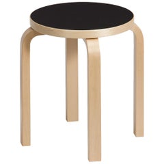 Authentic Stool E60 in Lacquered Birch with Linoleum Seat by Alvar Aalto & Artek