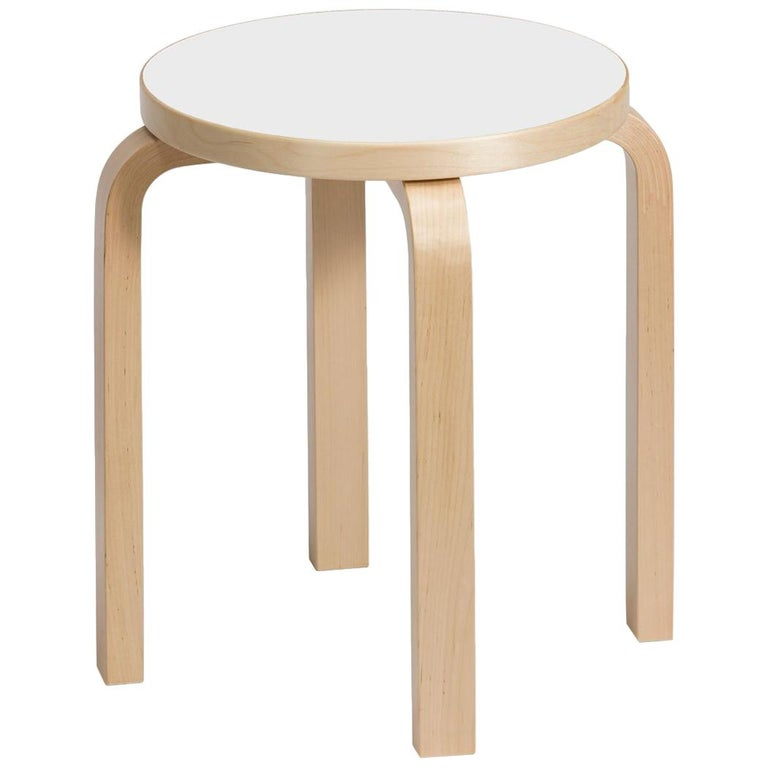 Authentic Stool E60 in Lacquered Birch with Laminate Seat by Alvar Aalto & Artek For Sale