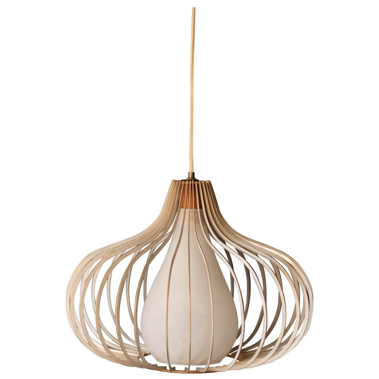 Mid Century Wire and Glass Pendant Lamp For Sale