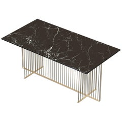 Meister Modern Dining/Meeting Table Handmade & Customizable in Marble and Brass