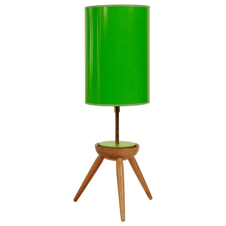 Midcentury Table Lamp With Wooden Base For