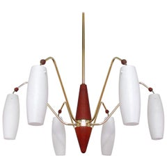 Scandinavian Midcentury Teak & Opaline Glass Six-Light Chandelier, Sweden 1960s