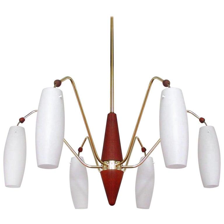 Scandinavian Midcentury Teak & Opaline Glass Six-Light Chandelier, Sweden 1960s