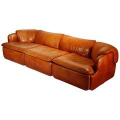 'Confidential' Three-Seat Leather Sofa by Alberto Roselli for Saporiti, 1972
