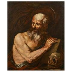 Santo Fracanzano 17th Century Oil on Canvas Saint Jerome Painting