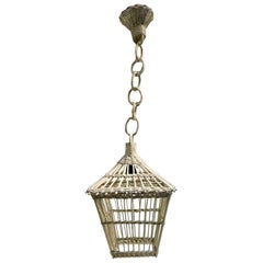 Vintage French Wicker Hanging Lantern/ Pendant Lamp Chandelier