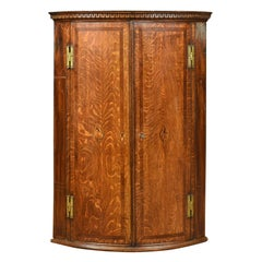Antique Bow Fronted Corner Cabinet, English, Georgian, Oak, Hanging, circa 1770