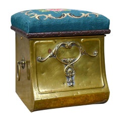 Antique Coal Bin Stool, Victorian, Brass, Fireside, Box, Needlepoint, circa 1880