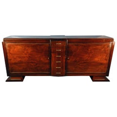 Art Deco walnut  Veneer and Brass Sideboard, circa 1930