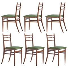 Set of Six Guglielmo Ulrich Trieste Dining Chairs for Saffa, Italy, 1961