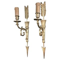 19th Century Empire Arrow and Sheath Ormolu Wall Sconces