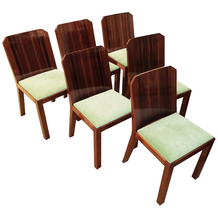 1930s Set of Six Art Deco Chairs, Walnut, Macassar Veneer, Velvet, France For Sale