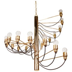 Spiral Brass Chandelier Designed in Italy by Gino Sarfatti, 1950s