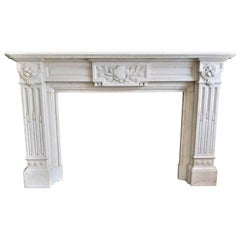 Beautiful Carrara Marble Fireplace, Late 19th Century