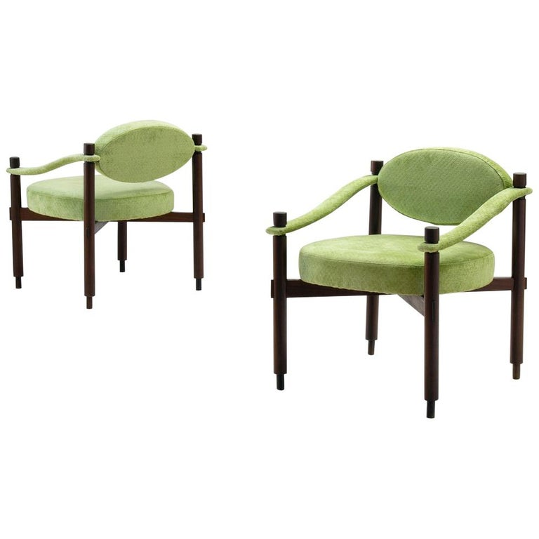 Pair of Armchairs by Raffaella Crespi in Green Textured Velvet, Italy, 1960s For Sale