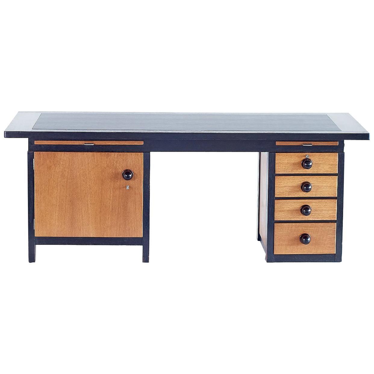 Frits Spanjaard Important Asymmetrical Desk in Oak and Macassar Ebony, 1932