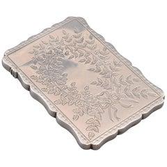 Silver Card Case, with Hallmarks, Robert Thornton, Birmingham, England, 1877