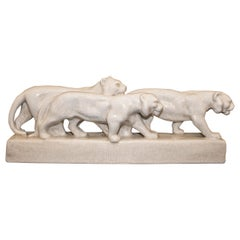 Emaux de Louviere 20th Century White Lionesses Ceramic Belgium Sculpture