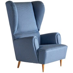 Paolo Buffa High Wingback Chair Upholstered in Blue Rubelli Fabric, Italy, 1940s