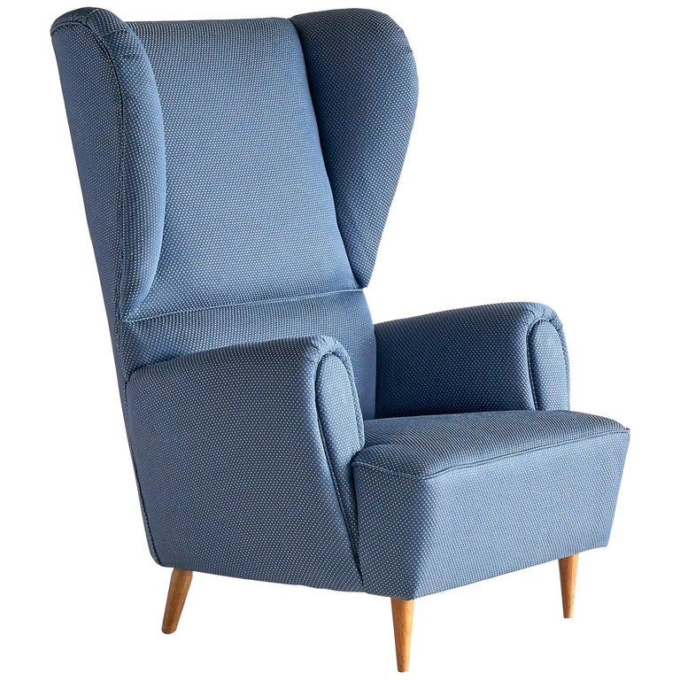 Paolo Buffa High Wingback Chair Upholstered in Blue Rubelli Fabric, Italy, 1940s For Sale