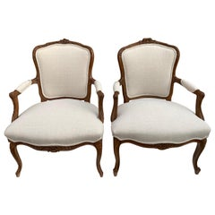 Pair of His and Hers Antique Bergeres