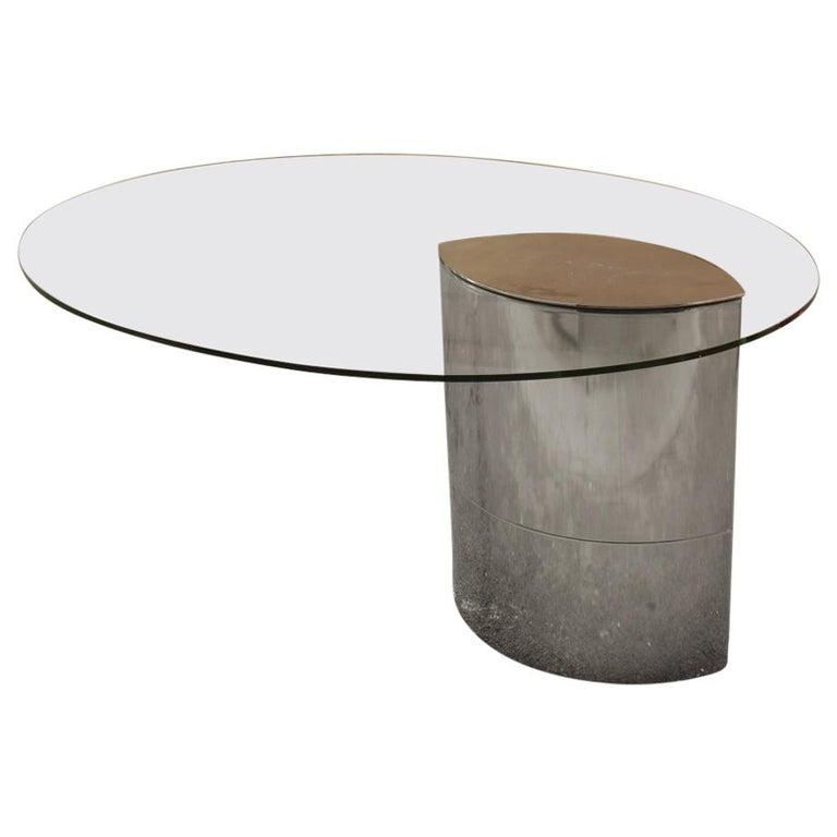 Desk Dining Table Oval Cini Boeri for Gavina 1970 Lunario Steel Crystal Italian For Sale