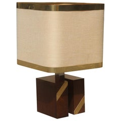 Square Brass Table Lamp in Fabric Dome and Gilt Metal, Italian Design, 1970