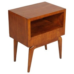 1940s Mid-Century Modern Nightstand, Bedside Table, Cherrywood Gio Ponti Style