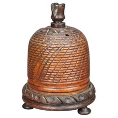 19th Century Treen String Barrel in the Form of a Beehive