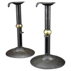 Pair of 19th Century Steel and Brass Hogscraper Candlesticks