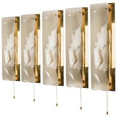 Brass and Bras Handblown Murano Glass Wall Lights by J.T. Kalmar, 1960s