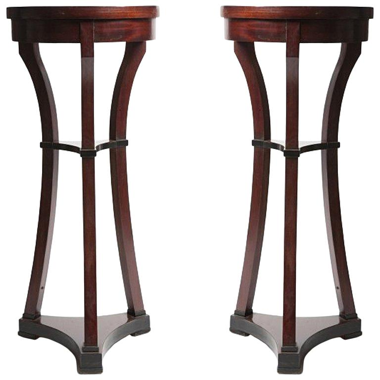Pair of Russian Biedermeir Small Round Side Tables For Sale