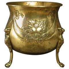 19th Century Repousse Brass Jardinière