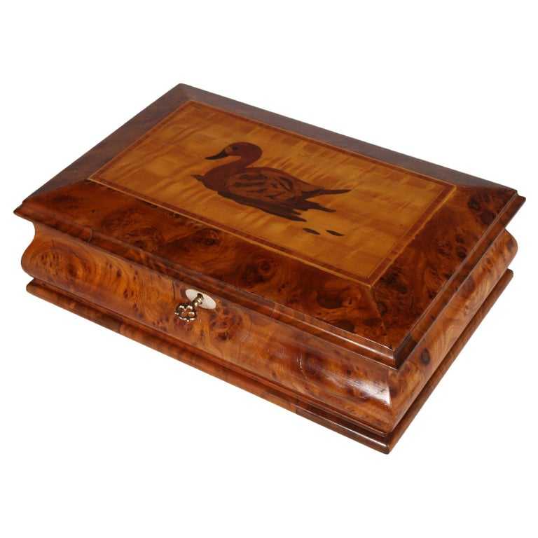 Lombard Jewel Box in Burl Walnut, with Precious Inlays of Fruit Woods For Sale