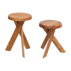 Pair of Pierre Chapo Solid Elm Wood Stools S31A & S31B