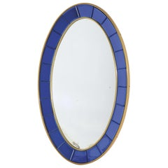 Full-Length 1960s Cristal Arte Blue Model 2727 Oval Wall Mirror, Italian