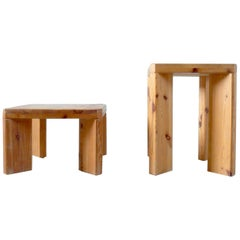 Roland Wilhelmsson, Unique Pair of Signed Stools, Studio of Artist 1965 and 1970