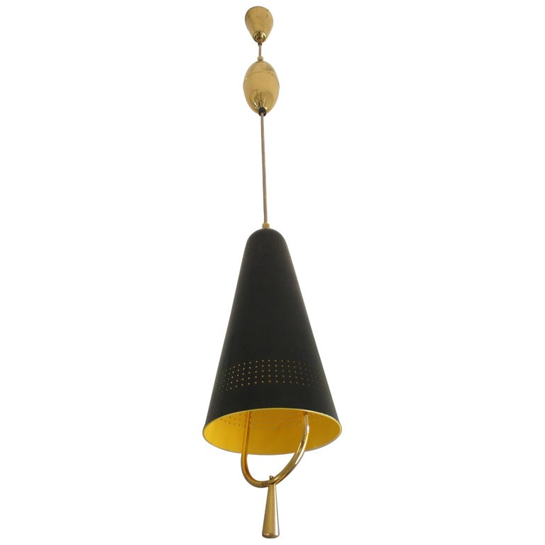 Scandinavian Modern Adjustable Pendel Pendant Light, Finland, 1950s For Sale