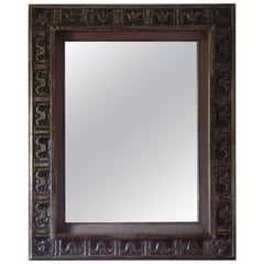 French Hand Carved Silver and Gilt Wood Mid-Century Modern Neoclassical Mirror