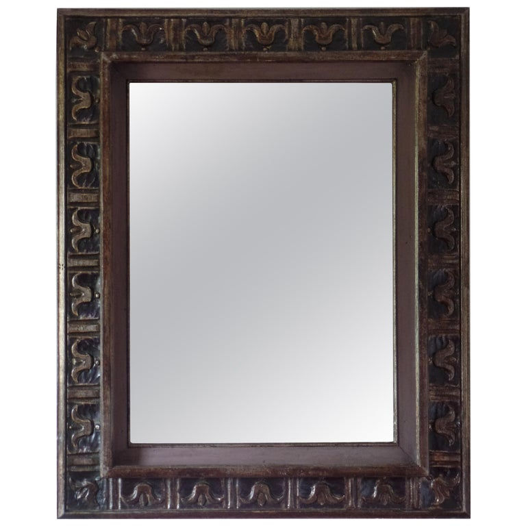 French Hand Carved Silver and Gilt Wood Mid-Century Modern Neoclassical Mirror For Sale