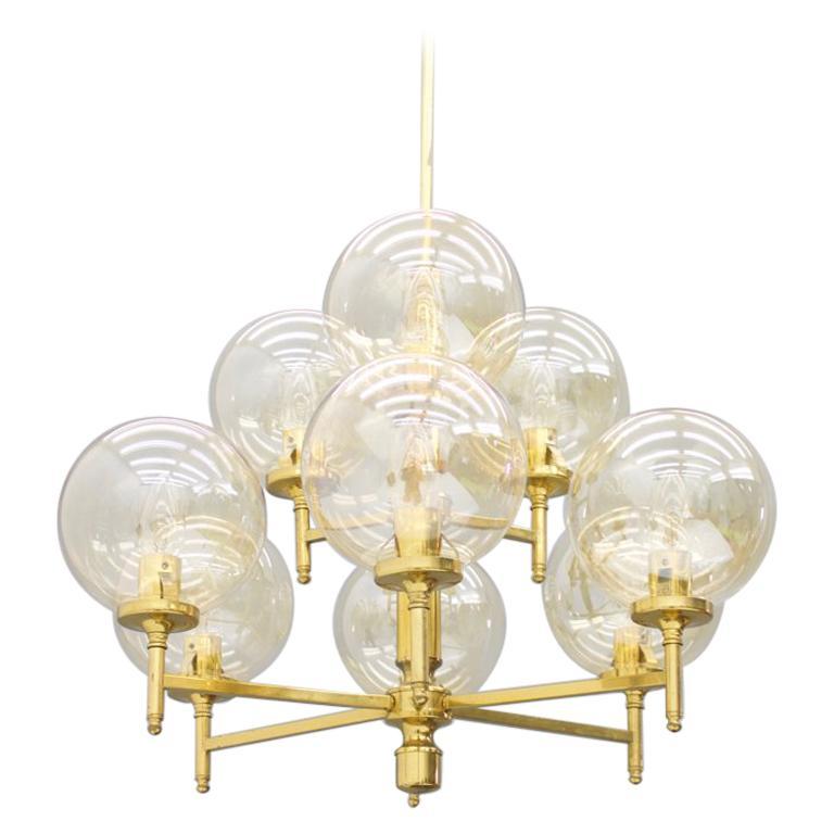 Brass Chandelier with Nine Glass Globes 1960s