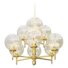 Brass Chandelier with Nine Glass Globes 1960s