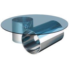 MMPM Minimalist Coffee Table, Tinted Glass and Tubular Aluminium