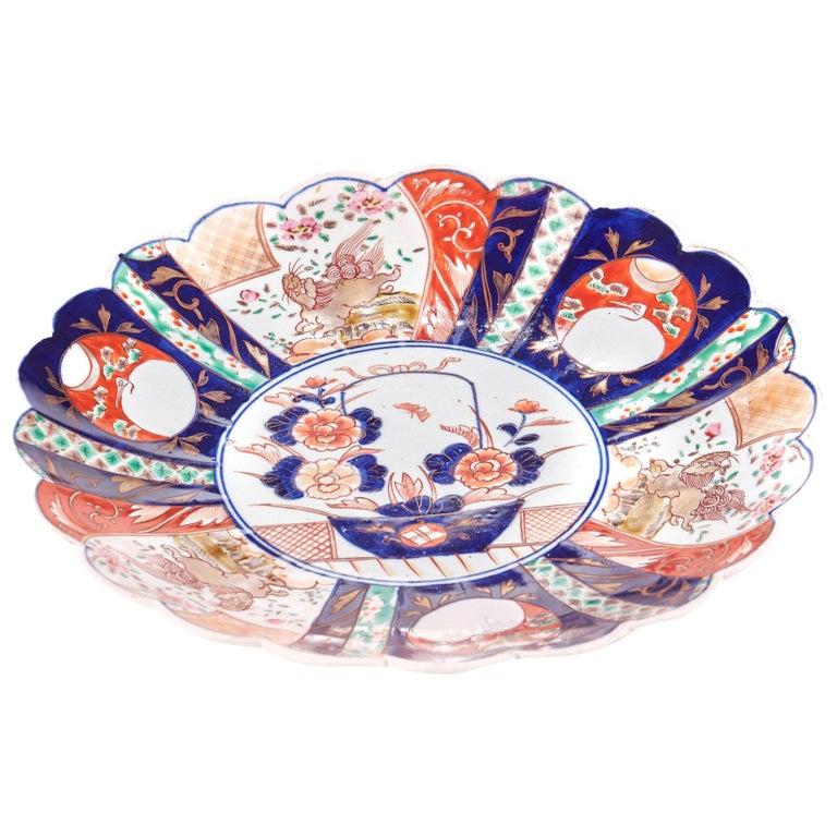 Large Antique Scalloped Edge Japanese Imari Porcelain Dish For Sale