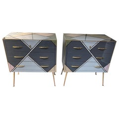 Italian Pair of Chest of Drawers in Teinted Glass with Different Colors