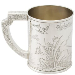 Antique Victorian Aesthetic Style Sterling Silver Mug